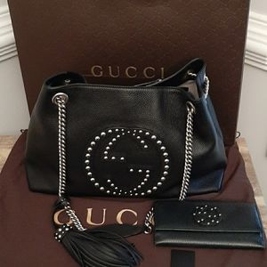 RARE GUCCI STUDDED SOHO & WALLET